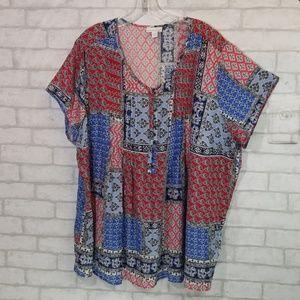 Westport 1962 patch work woman blouse 3x